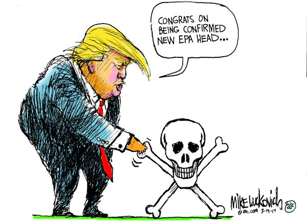 Image result for trumps epa lives at risk cartoons