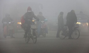 Severe smog and air pollution in Beijing
