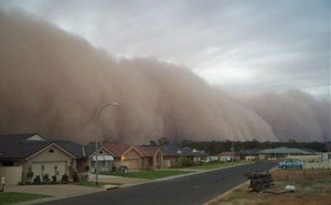 sand storm and houses