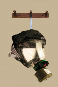 hanging gas mask on hook