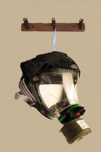 hanging gas mask on hook