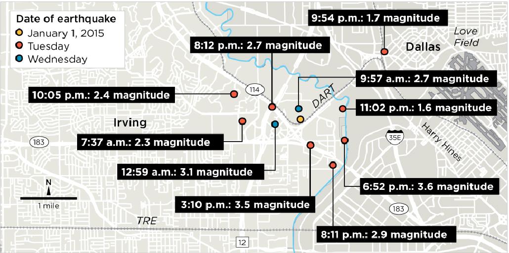 Irving Earthquake map